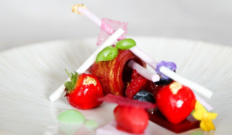Compressed raspberries, eggless violet meringue, seasonal berries & basil Sorbet rhubarb