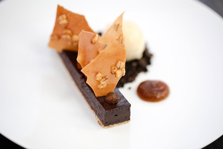 Chocolate crémeux, guinness ice cream oreo crumb, puffed barley & white chocolate  rhubarb